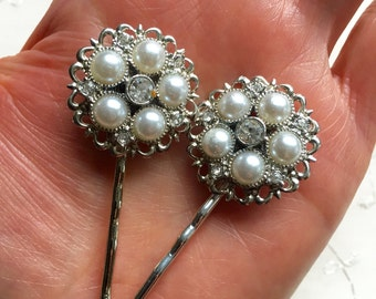Vintage Pearl Rhinestone Hair Bobby Pins Bridesmaid Wedding Prom Art Deco Silver Doodaba