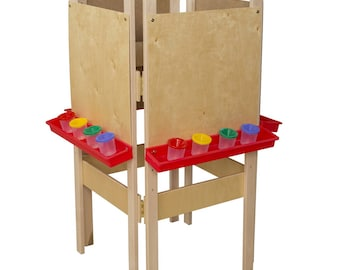 Classroom Easel, 4-Sided Adjustable Kid's Art Easel with Plywood Art Surface and Red Trays