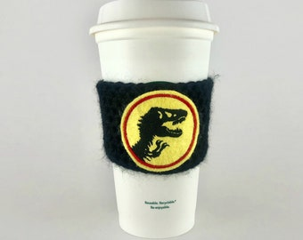 Jurassic Dinosaur Coffee Cup Cozy / Crochet Coffee Sleeve / Reusable Cozie / Customizable