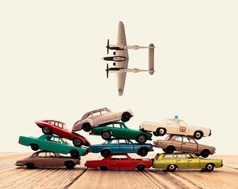 Vintage Matchbox Cars Stacked Airplane Fly By, Photo Print, Boys Room decor, Boys Nursery Prints