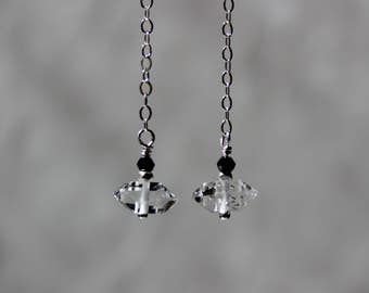 Herkimer Diamond Earrings with black spinel, April Birthstone, Dangling Earrings, Minimalistic Earrings, Rough Earrings, Crystal Earrings