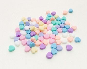200 pcs Heart mix colors plastic pastel beads (type2)