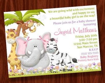 Jungle Girl Baby Shower Invitation PRINTABLE Digital File