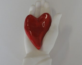 Ceramic Wall Sculpture MY Heart is in your Hand My Valentine right hand