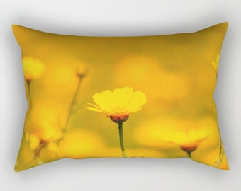 Yellow Rectangle Pillow, Yellow Pillow, Daisy Rectangular Pillow with Insert, Rectangular Throw Pillows, Decorative Pillows