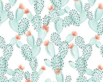Crib Skirt Aqua Watercolor Cactus + Rose. Baby Bedding. Crib Bedding. Crib Skirt Boy. Baby Girl Nursery. Cactus Crib Skirt.