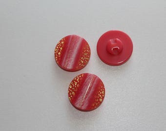 Pink/gold old round button for knitting or sewing