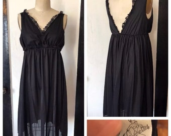 Vintage 1950s black lace sheer slip dress empire waist with shapewear