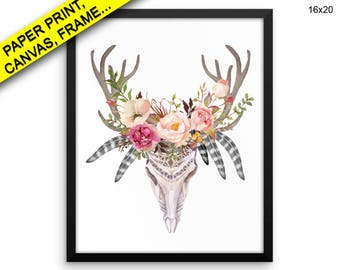 Flowers Canvas Art Skull Printed Flowers Animal Art Skull Animal Print Flowers Framed Art Skull boho chic print skull antlers bohemian art