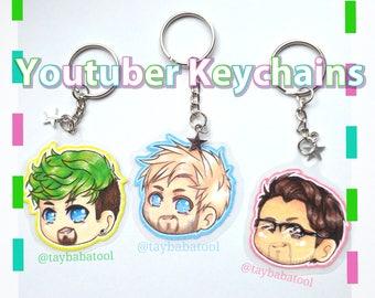 Youtuber Keychains: Jacksepticeye, Pewdiepie and Markiplier