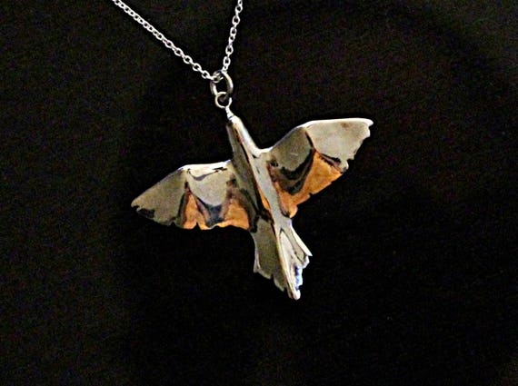 Lucky bird necklace, bird jewelry, night bird pendant, sterling silver pendant, open wings hand carve summer jewelry gifts