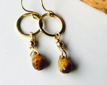 Brass Hoop and Tiger Eye Earrings, Dangle Earrings, Hoop Earrings, Brass Hoops, Dangle and Drop Earrings