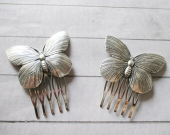 Silver butterfly Hair Combs Hair Clips Nature Hair Accessories Wedding Bridal Bridesmaids Gifts Sweet Gifts for her Raw Brass