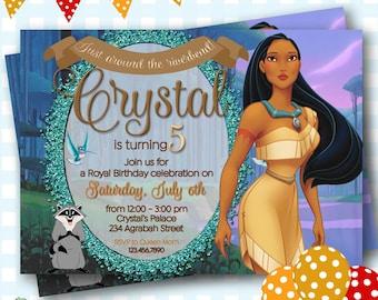 Invitation de Pocahontas, Invitations d'anniversaire Pocahontas, Pocahontas invite, Pocahontas imprimable Invitations, Invitations de princesse - P612