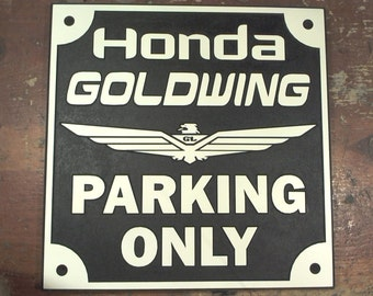 Honda Goldwing parking only engraved sign man cave garage motorcycle