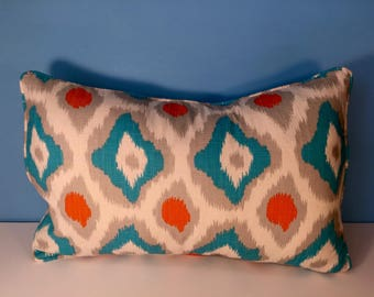 Decorative Geometric Pillow Corded Cover - Orange and Blue Diamond