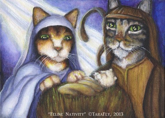 Feline Nativity 5x7 Fine Art Print