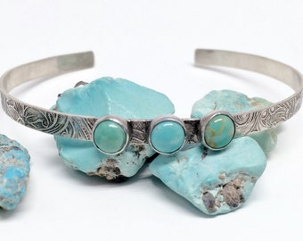 Turquoise Cuff Bracelet, Kingman turquoise Jewelry, Western Bangle for women, Floral Cuff Design