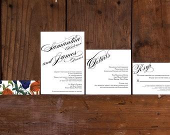 Modern Calligraphy Wedding Invitations Template,Calligraphy Wedding Invitation Printable,Elegant Wedding Invitation Digital Download, DIY