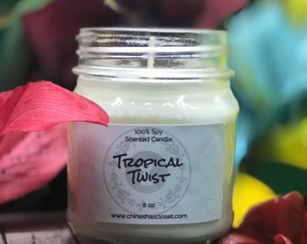 Tropical Twist//Soy Scented Candle//100% Soy Wax Candle//Hand Poured//HandMade//Housewarming Ideas//