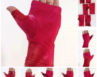 Red tie dye fingerless gloves, wrist warmers in bamboo blend.