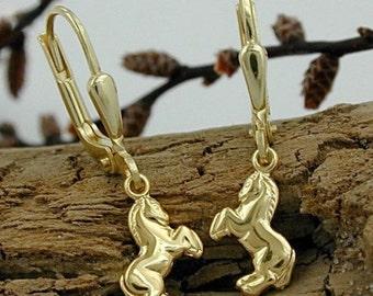 Horse earrings, 9Kt yellow gold