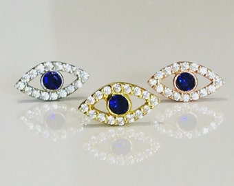 Eye CZ Stud Earrings With Sparkly Cubic Zirconia • Safe to Get Wet • A Beautiful Gift to Give or Keep
