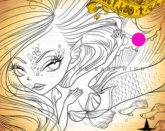 Digital Stamp- 'Lucy Loo' Mermaid- 300dpi JPEG/ PNG -MAC0062m