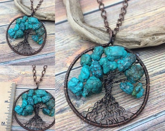 Big Chunky Turquoise Gemstone Tree of Life Copper Wire Wrapped Necklace