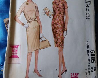 1960s McCall's 6805 Quickie pattern dress Easy to sew size 12 Bust 32