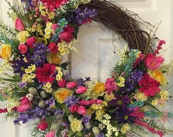 Spring Wreath, Everyday Wreath, Summer Grapevine, Summer Floral Wreath, Grapevine Wreath, Summer Front Door, Deluxe Wreath,Everday Grapevine