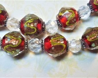 Holiday Red and Gold layered lampwork beads