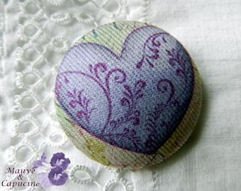 Button out of fabric, purple heart, 1.57 in / 40 mm