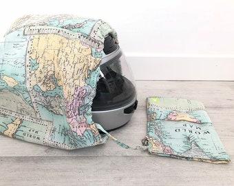 Funda Casco, bolsa casco, funda casco moto, bolsa porta casco, bolsa casco moto, bolsa casco, tela mapa, mapamundi, cartografía, mini
