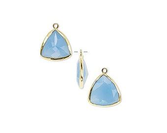 Blue Chalcedony Triangle Drop, Gold, Pendant or Earring Component, 16x16x16mm