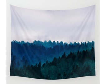 Wall Tapestry, Tree Tapestry, Wall Hanging, Trees Blue Mountain Wilderness Forest, Wall Decor, Photo Wall Art, Modern Tapestry, Home Decor