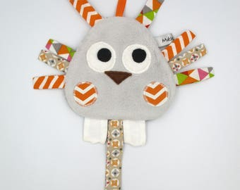 Orange grey bird pacifier Plushie