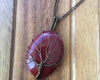 Tree of life red jasper pendant