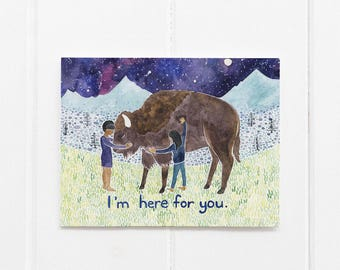 Sympathy Card / Buffalo Card / Watercolor Card / Greeting Card / Bison Card / Empathy Card / Get Well Soon Card / Sympathy / Bereavement