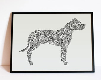 "The Dogo Argentino - The story of the Argentine Mastiff inside the silouhette - traits personnality - Hand signed - 8""x12"" to 24"" X 32"""
