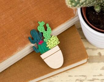 Pot Full of Cacti Brooch, Botanical Laser Cut Pin