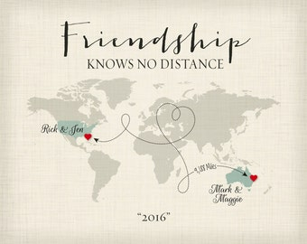 Personalized Gift for Friends, Moving Away Gift for Friends, Friendship Knows No Distance Gift, Long Distance Friend Print, World Map Art