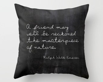 Gifts for Friends, Ralph Waldo Emerson, Emerson Quote, Black Velvet Pillow, Best Friend Gift, Rustic Home Decor, Friend Gifts, Farmhouse