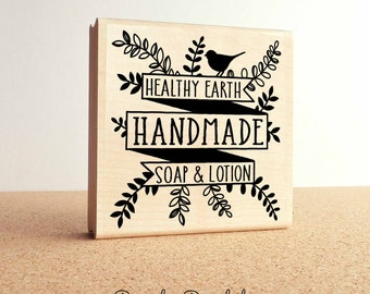 Large Personalized Bath and Beaty Product Label Rubber Stamp, Custom Botanical Stamp