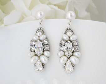 Art Deco earrings, Pearl drop earrings, Swarovski crystal and pearl bridal earrings, Freshwater pearl wedding earrings, Bridesmaid earrings