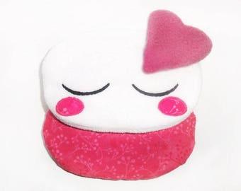 Petite bouillotte sèche kawaii nuage endormi rose