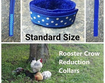 1 STANDARD Rooster Crow Reduction Collar (aka No Crow Collar)  - Blue Dots