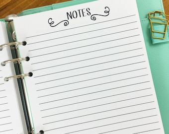 A5 Notes printed planner refill insert - lined paper - note taking - journal