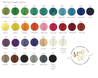 """YKK zipper size 3 - Closed End Polyester Coil Zipper - 30cm/12"""" - (1 zip) 28 colours available - Sewccbaghardware"""