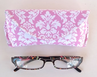 Eyeglass Case - Sunglass Case - Sunglasses Case - Magnetic Closure - Pink and White - Damask - Gifts for Her